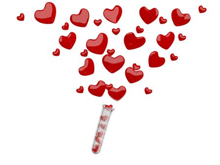 Valentine hearts flying. 3D illustration illustration
