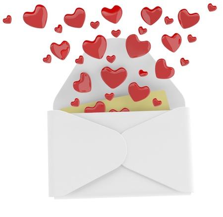 Love letter with flying hearts. 3D illustration illustration
