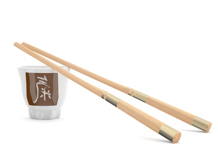 Chinese chopsticks and bowl with hieroglyph. 3D model