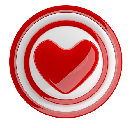 Red heart button. 3d model isolated on white Stock Photo - 11808356