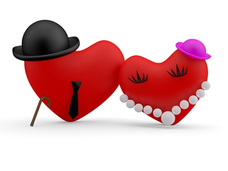 Hearts. Two comic person man and woman. 3D model photo