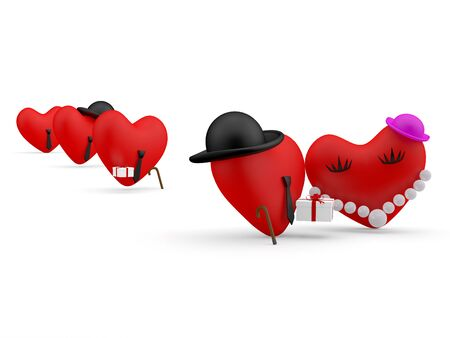 comic duo: Hearts. Cartoon persons with present. 3D illustration Stock Photo