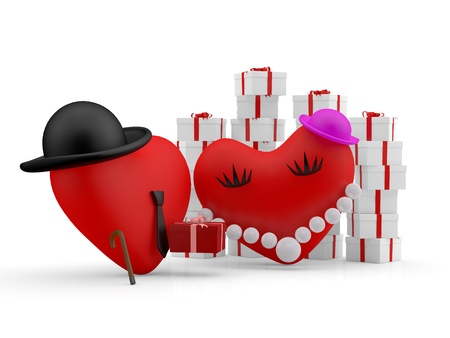 comic duo: Hearts: cartoon man giving a gift to his couple. 3D illustration
