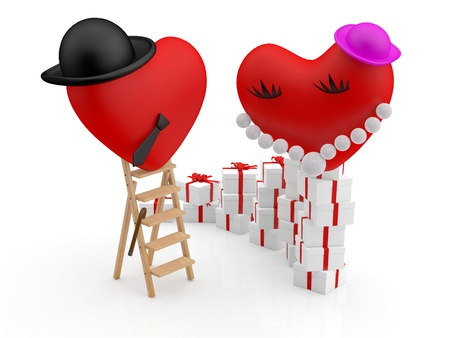 comic duo: Love concept  Hearts with gift Stock Photo