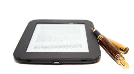 databank: Electronic book (e-book)  and ink handle isolated on white background