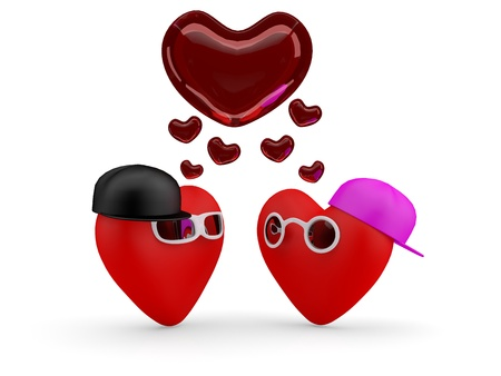 comic duo: Hearts. Couple teens in love: boy and girl. 3D illustration Stock Photo