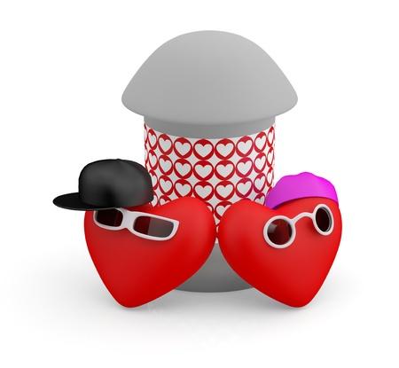 comic duo: Couple teens. Hearts. 3D cartoon model