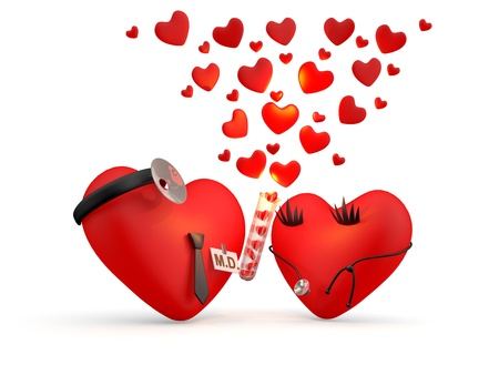 two hearts together: Hearts: cartoon man and woman - doctors. 3D illustration