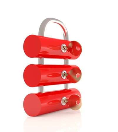 Firewall concept. Lock and keys. 3D model Stock Photo - 11879016