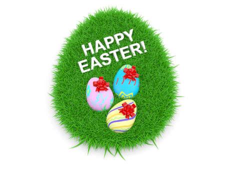 Easter Eggs on Fresh Green Grass. 3D model photo