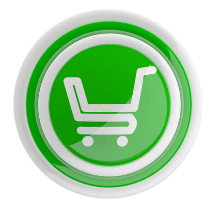 checkout button: Shopping cart button. 3D icon isolated on white Stock Photo