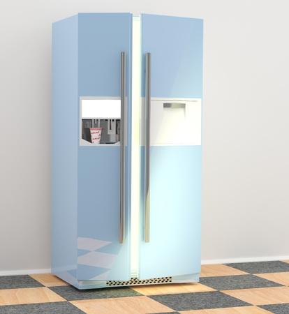 Refrigerator in kitchen. 3D model of fridge  photo