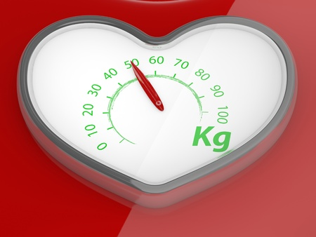losing control: Scales in the form of heart. 3D model Stock Photo