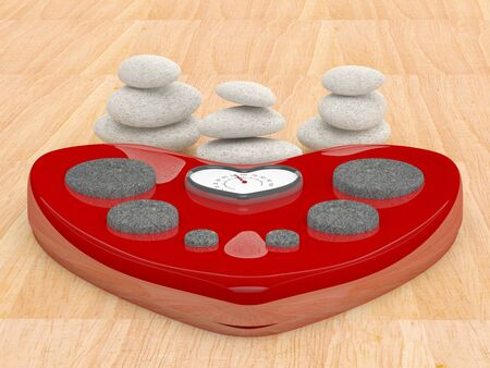 meditation stones: Scale and spa stones. 3D illustration