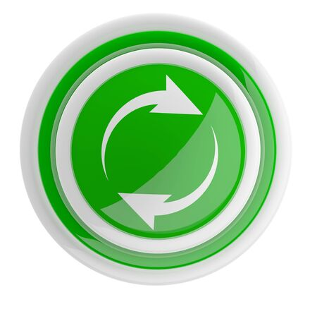 refresh button: Refresh button with arrows. 3D icon isolated on white