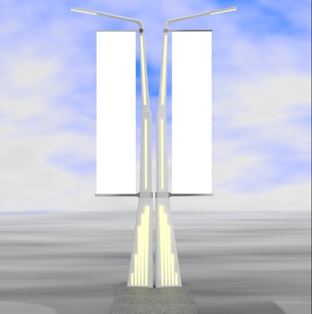 Lamp post with two lamps. Street light.3D model photo