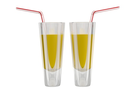 Glass with orange juice on white background. 3D model