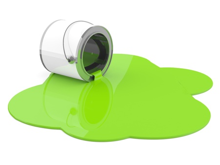 Spilled green paint. 3D model photo
