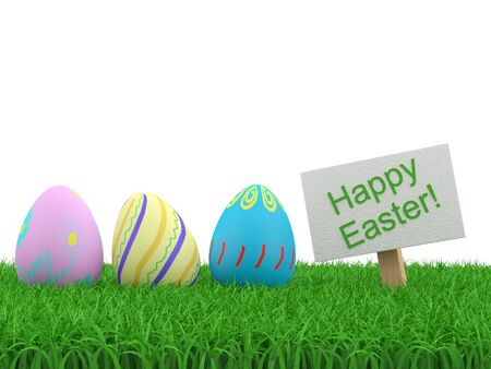 Decorated easter eggs in the grass. 3D illustation photo