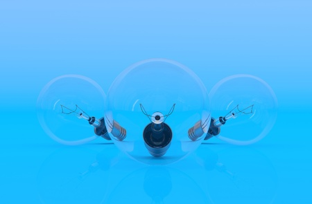 Light bulb. 3D model on blue background photo