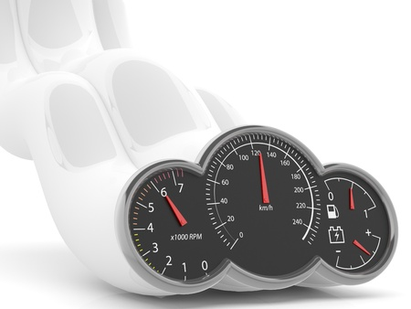 Speed concept. 3D speedometer photo