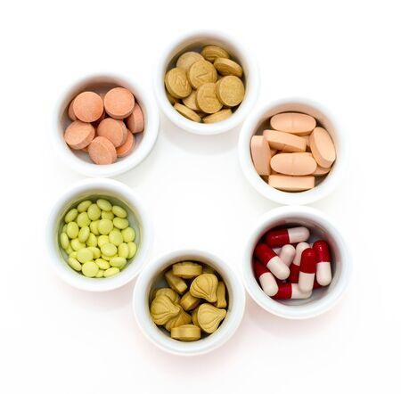 Drugs: vitamins, pills and tablets Stock Photo