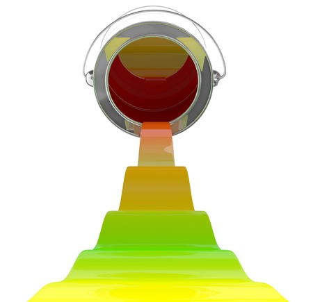 Colorful paint pouring from bucket. 3D model on white background