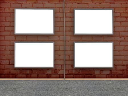 Brick wall with blank billboard for advertise. 3D illustration illustration