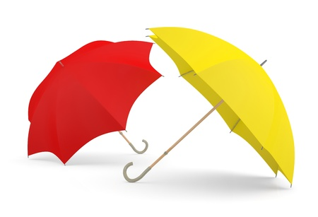 Umbrellas. Two 3D red and yellow models Stock Photo