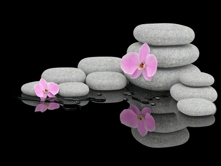 zen stones: Spa treatment concept. Zen stones and orchid