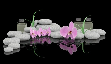 traquility: Spa treatment concept. Zen stones, orchid and bottles of essential oil Stock Photo