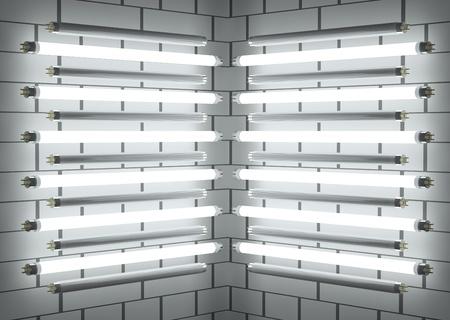 tubos fluorescentes: Los tubos para lámparas fluorescentes en la pared de ladrillo. Ilustración 3D