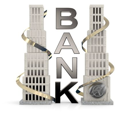 Bank building. 3D concept on white background photo