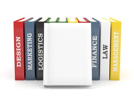 Books colorful - different subject. 3D illustration