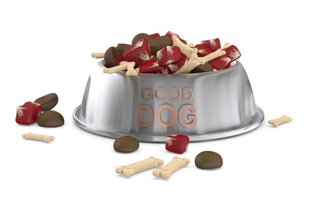 Dog food. 3D model isolated on white  Stock Photo