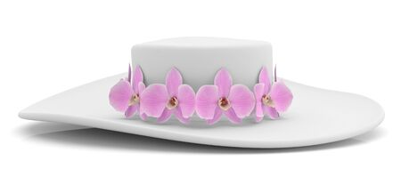 woman wearing hat: Hat womans with orchid. 3D object Stock Photo
