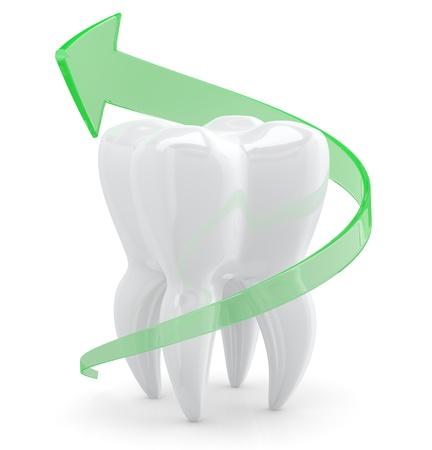 dientes con caries: Diente concepto de protecci�n. Objeto 3D aisladas sobre fondo blanco