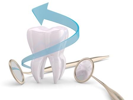 diente caricatura: Dientes Cooncept protecci�n. Espejo de boca del dentista, diente y la flecha azul