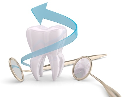 tooth root: Teeth protection cooncept. Dentist mouth mirror, tooth and blue arrow