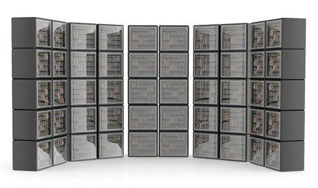 Servers and hardwares in a data center. 3D illustration illustration