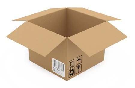 Cardboard box isolated on white. 3D model Stock Photo