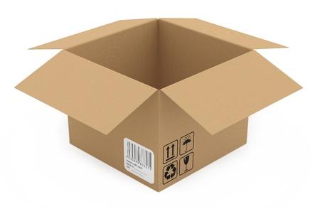 Kartonnen doos geà ¯ soleerd op wit. 3D-model