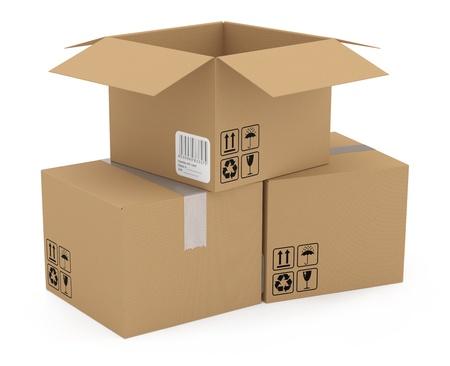 stockpiling: Caja de cart�n aislados en blanco. Modelo 3D