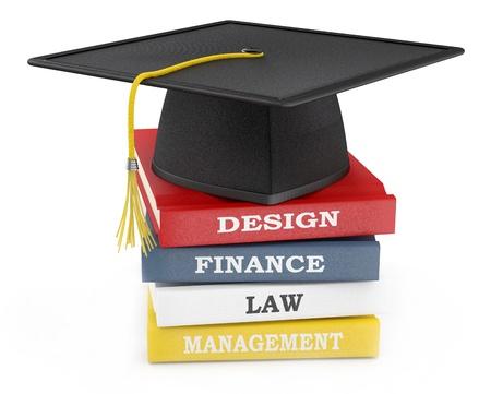 Graduation cap on books. Education concept Stock Photo