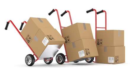 hand move: Hand trucks and carboard boxes. 3D model isolated on white background