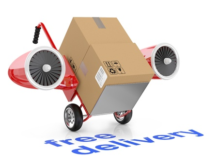 Free delivery concep. Hand truck and carboard boxes. Stock Photo