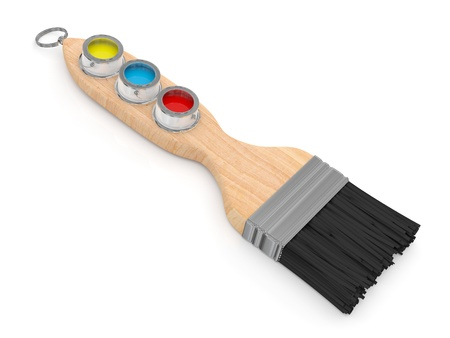 Paintbrush with colorful Paint buckets  photo