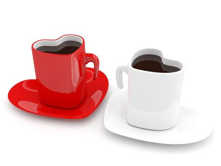 Two Coffee cup in form of heart. Love concept. 3D render Stock Photo