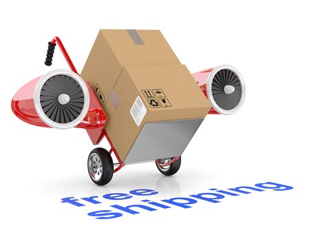 Free shipping concept. Hand truck and carboard boxes. photo