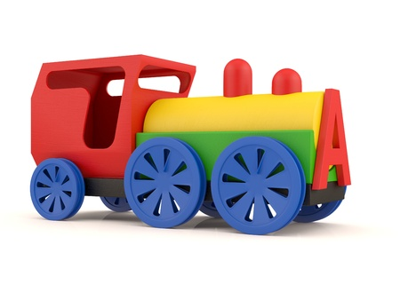 Toy train. 3D model isolated on white background Stock Photo